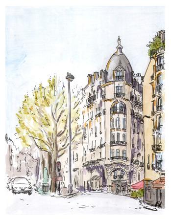 edifice: Painting of street of european city, Paris