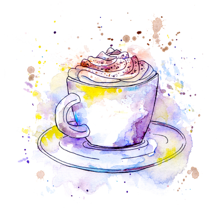 Coffee cappuccino cup. Watercolor original style with drops and splash Фото со стока