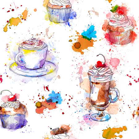 teatime: Teatime seamless background. Cupcake cakes, coffee cup. Artistic watercolour with drops and splash