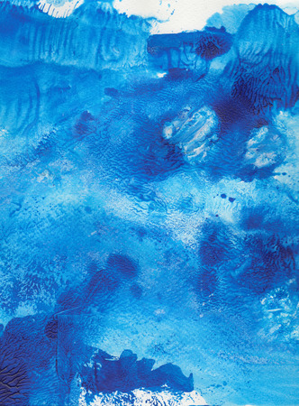 Abstract watercolor painted texture with blue strokes and stains