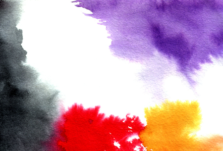 macula: Abstract violet black red orange watercolor splashes