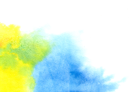 Abstract yellow blue mixed watercolor splash in white background