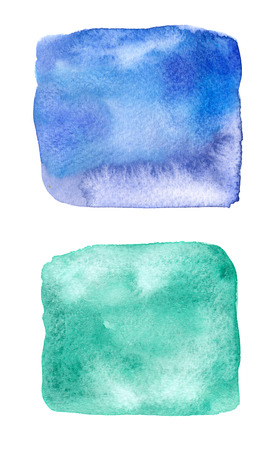 Colorful blue and green watercolor square stain with watercolour paint smudge