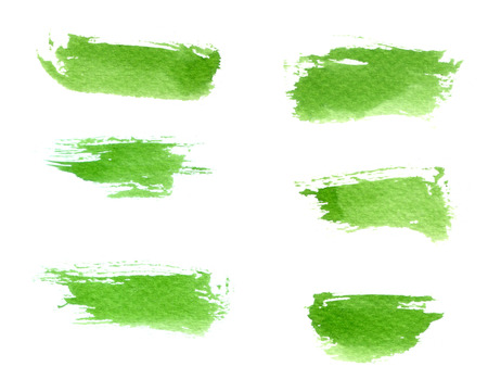 dabs: Green brush strokes watercolor set on white paper background