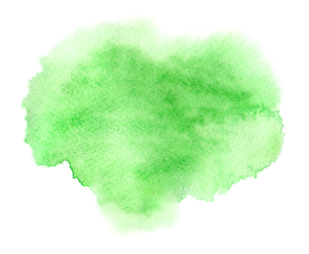Colorful green watercolor stain with aquarelle paint wet blotch Stock Photo