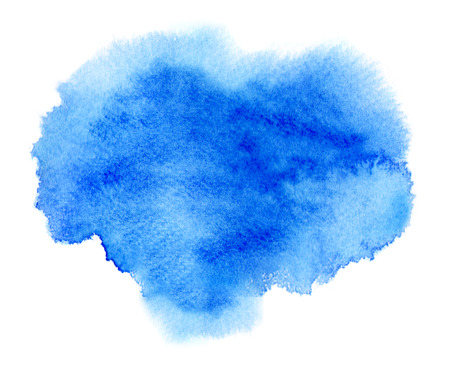 Blue watercolor stain with watercolor paint blotch and brush stroke Фото со стока