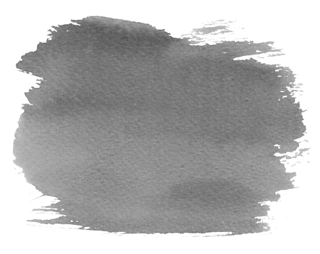 Grey watercolour blotch stain on white paper background