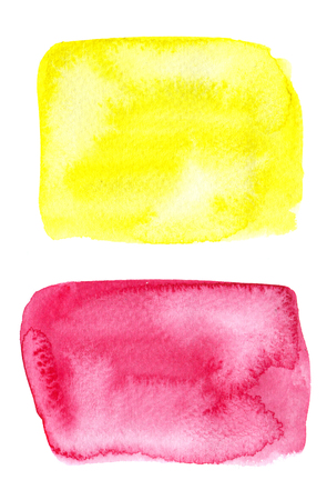 Bright yellow and red watercolor spot with watercolour paint blotch