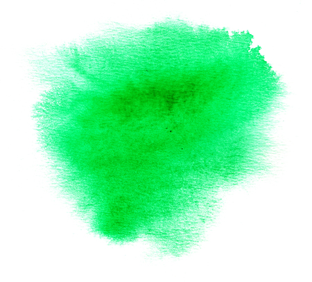 blotch: Bright green watercolor splash with watercolor paint blotch on white paper background