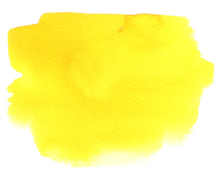 blotch: Yellow watercolor stain with watercolor paint blotch and brush stroke Stock Photo