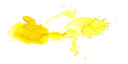 yellow paint: Yellow watercolor stain with watercolor paint blotch and brush stroke Stock Photo