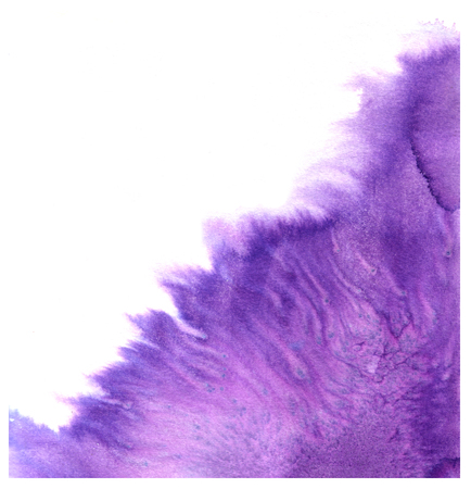 macula: Abstract violet watercolor splash with blotch - hand drawn painting