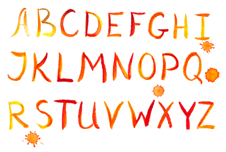 alfabet: Painted red-yellow watercolor alphabet, isolated on white paper Stock Photo