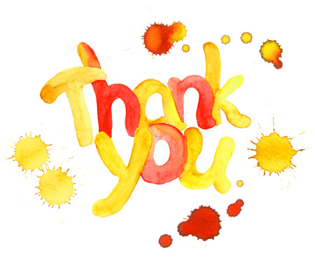 Watercolor hand painted text Thank you with color drops Stock Photo