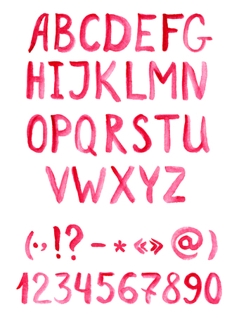 punctuation marks: Red watercolor alphabet font with numbers and punctuation marks, hand wtitten