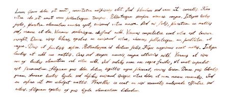 Handgeschreven brief - Latijnse tekst Lorem ipsum geschreven door bruine inkt, retro Stockfoto