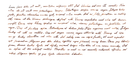 Handwritten letter - latin text Lorem ipsum written by brown ink, retro