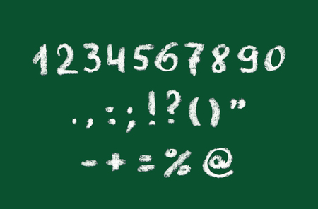 punctuation mark: Chalk hand written numbers and punctuation mark on green blackboard