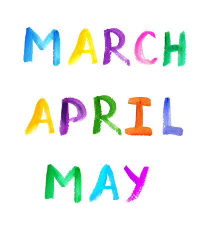 months: Watercolor painted multicolor calendar three spring months Stock Photo