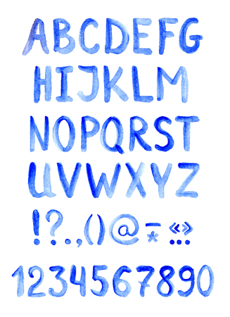 aquarel: Blue watercolour alphabet font with letters, numbers and punctuation marks