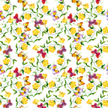 bindweed: Yellow flower bindweed. Repeating floral pattern. Watercolour background