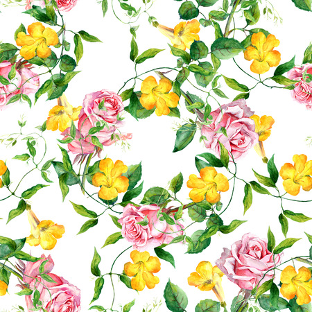 pattern: Yellow flower bindweed. Repeating floral pattern. Watercolour background