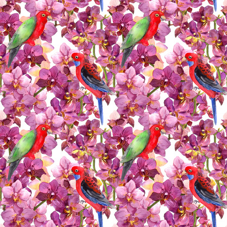 flower sketch: Exotic floral repeating  pattern - parrot bird, blooming orchid flowers. Seamless wallpaper in watercolour.