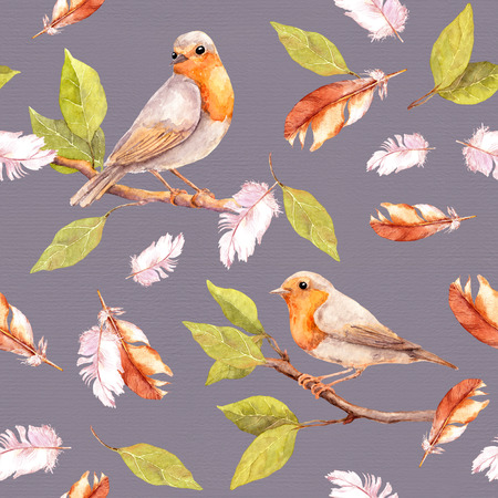 soulful: Bird on branch and feathers. Seamless retro pattern. Vintage watercolor
