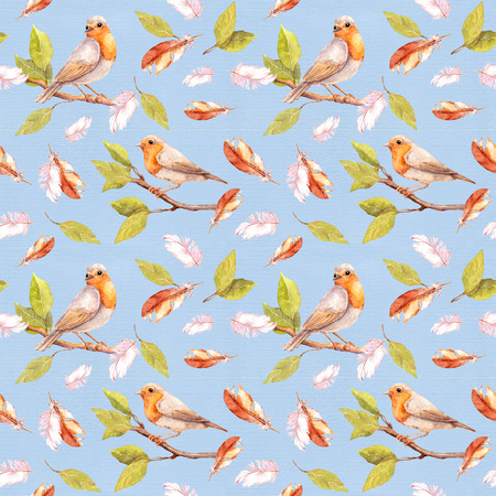 Bird on branch and feathers. Seamless retro pattern. Vintage watercolor