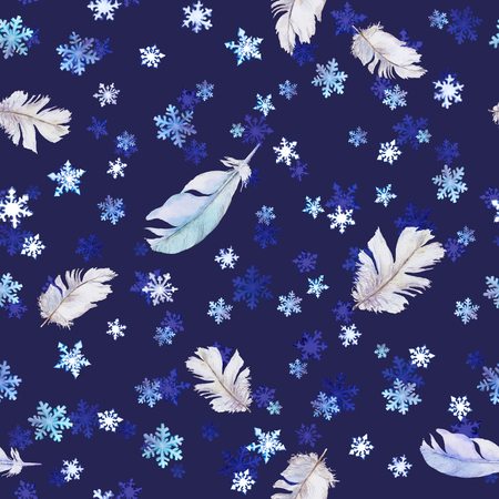 iciness: Christmas pattern with snowflakes and feathers. Seamless watercolor background