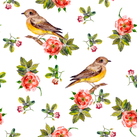 Sentimental retro floral seamless backdrop with wild roses and birds