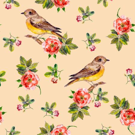 Sentimental toile de fond floral rétro transparente avec des roses et des oiseaux sauvages
