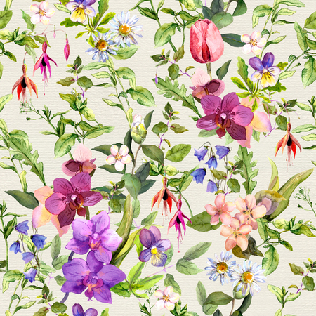 flower background: Seamless wallpaper - flowers and butterflies. Meadow floral pattern for interior design. Watercolor Stock Photo