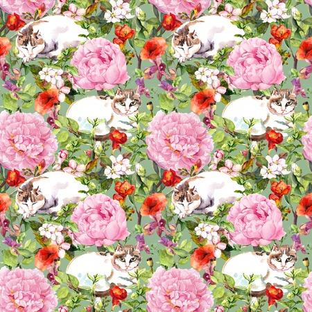 Gato que duerme en la hierba y las flores. del papel pintado floral sin fisuras para el diseño de interiores. Acuarela Foto de archivo