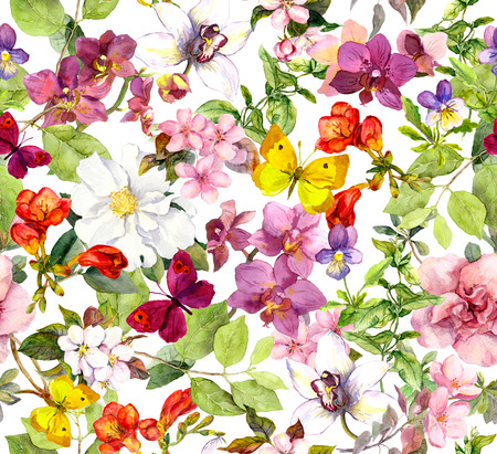 champ de fleurs: Fleurs et papillons Vintage. Rétro motif floral. Aquarelle
