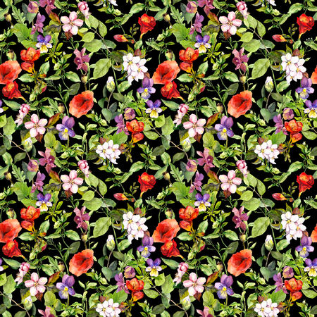 flowers background: Meadow with grass, summer flowers, wild herbs. Seamless floral background. Watercolour