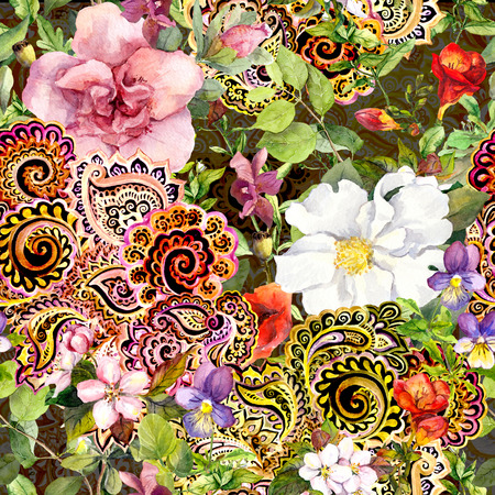 paisley seamless pattern: Seamless vintage floral background with flowers and decorative eastern ornament. Watercolor
