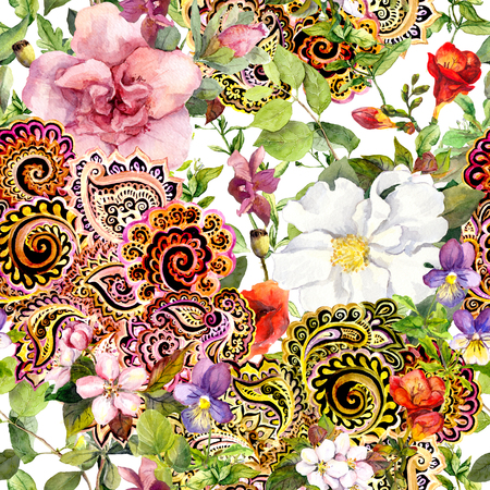 Seamless vintage floral background with flowers and decorative eastern ornament. Watercolor