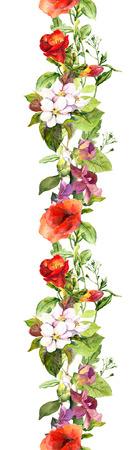 Sommer Wiese Blumen und Schmetterlingen. Ditsy wiederholen Blumenrahmen. Aquarell