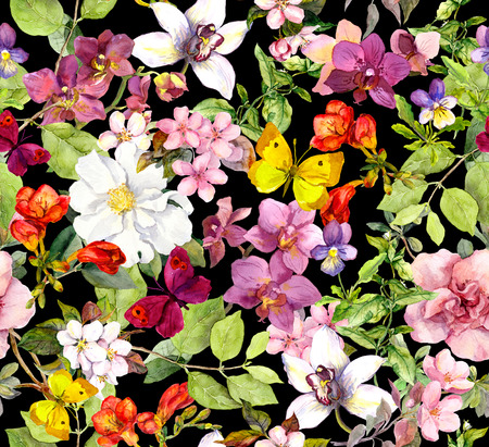 Summer flowers and butterflies on black background. Chic floral pattern. Watercolor