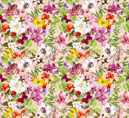 Bright flowers and butterflies - colorful garden. Floral wallpaper. Watercolour