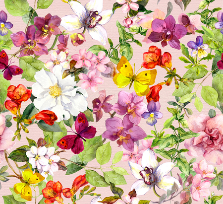 Summer flowers and butterflies. Ditsy vivid floral pattern. Watercolor