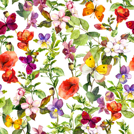 Meadow flowers, wild herbs and butterflies. Repeating floral pattern for fashion design. Vintage watercolor