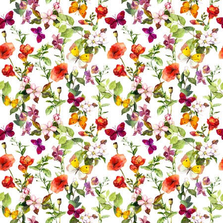 Meadow flowers, herbs and butterflies for wedding background. Repeating floral pattern. Watercolor Stock Photo