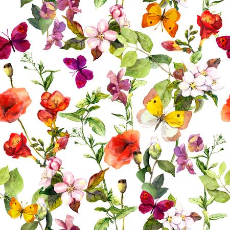 Summer Meadow bloemen en vlinders. Ditsy herhalen bloemenpatroon. Waterverf