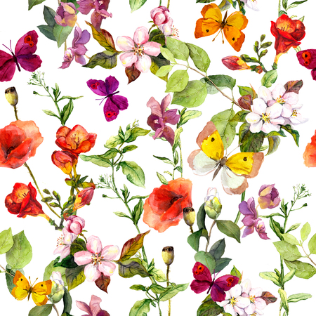 Summer meadow flowers and butterflies. Ditsy repeating floral pattern. Watercolor