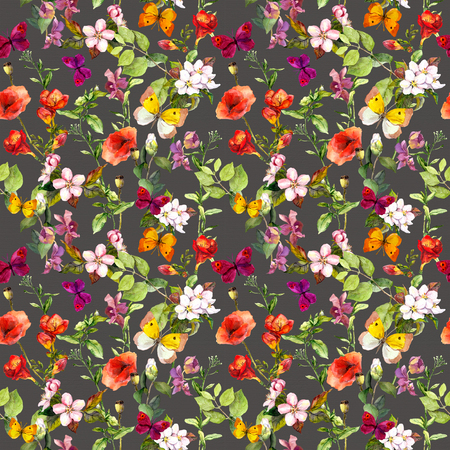 Summer meadow flowers and butterflies. Ditsy repeating floral pattern for wallpaper. Watercolor Фото со стока