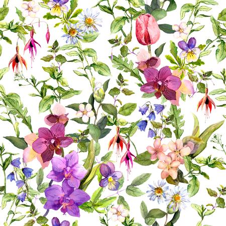 campo de flores: Prado flores y hierbas silvestres. papel tapiz floral transparente. Acuarela para el diseño de moda