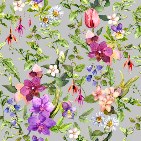 Ditsy flowers and wild herbs - summer garden. Vintage seamless floral and herbal pattern. Watercolor