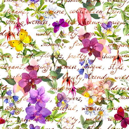 Meadow flowers and butterflies with vintage hand written text notes. Seamless floral background. Watercolor Stockfoto